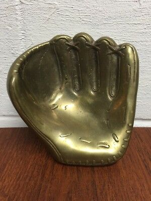 Large Solid Brass / Bronze Baseball Glove / Mitt Vintage Novelty Display