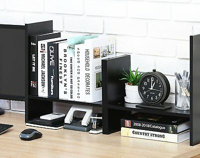 Adjustable Bookshelf Wood Desk Organizer Accessories Display Rack 5 Shelves