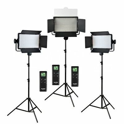 AU Godox 3x 500 LED Panel 3300-5600K Phone Video Continuous Light +2m Stands Kit
