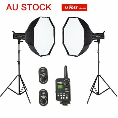 Godox 2X SK400 800W Studio Flash Light + 2m Stand + 95cm Softboxes & Trigger Kit