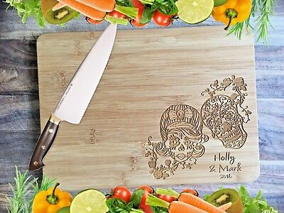 Engraved Bamboo Chopping Serving Board - Candy Skulls