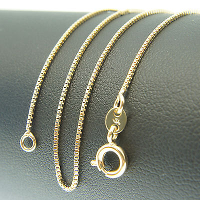 18k Gold F 46cm 18'' necklace 1mm solid box chain for pendant AUS MADE