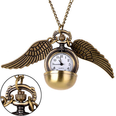 Harry Potter Gold Snitch Pocket Watch Pendant Necklace Steampunk Wings US