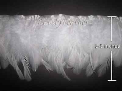Coque feather fringe of white color 10 yards trim