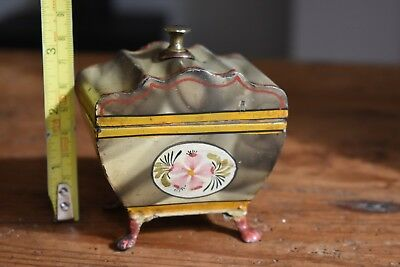 Lovely Vintage Small, Metal/Tin Hand Painted Trinket Box - Victorian?