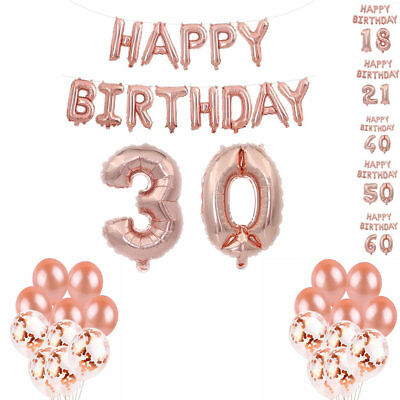 1st/16/18/21/30/40/50/60 Foil Latex Happy Birthday Number Balloons Banner Party