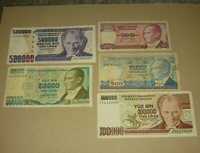 Lot 75 - Turkey Banknotes Collection - 5 pcs.