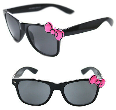 61a42e0c3 Women's Hello Kitty Sunglasses Horn Rimmed Black Frame with Pink Bow Retro