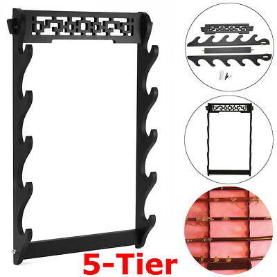 5-Tier Sword Holder Wall Mount Samurai Stand Display Katana Wall Hanger Rack