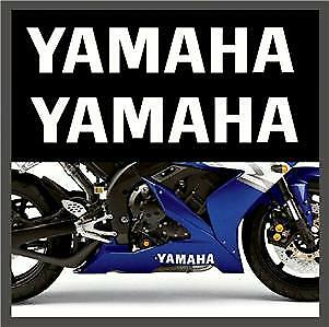 Yamaha logo bellypan Stickers 2x 300mm Gloss White R1 R6 YZF TZR other colours