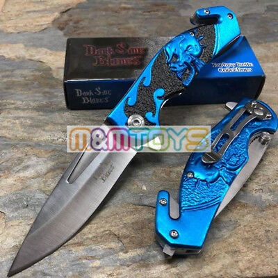 DARK SIDE BLADES Blue Skull Tactical Rescue Pocket Folding Knife DS-A064BL