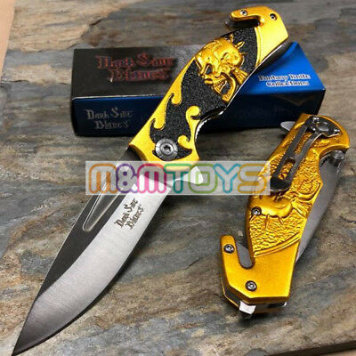 DARK SIDE BLADES Gold Skull Tactical Rescue Pocket Folding Knife DS-A064GD