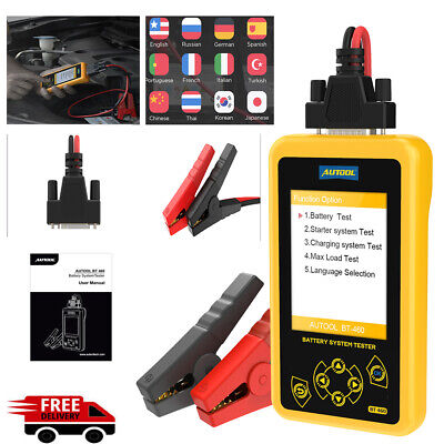 AUTOOL BT-460 Battery Tester Analyzer for 12V Vehicle 24V Heavy Colorful Display