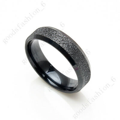 10pcs For Womens Men Stainless Steel Frosted Black Rings Wholesale Jewelry Lots