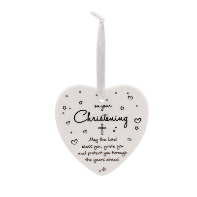 Christening Hanging Ceramic Heart - On Your Christening Day #LP42044