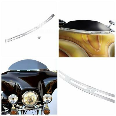 Chrome 4 Slotted Batwing Fairing Windscreen Trim For Harley Touring FLHT 96-13