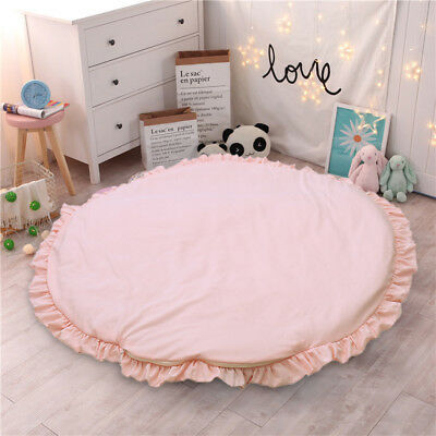 Baby Kids Round Lace Game Gym Activity Play Mat Crawling Blanket Floor Rug Pink