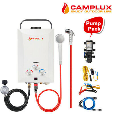 CAMPLUX Gas Hot Water Heater Instant Outdoor Camping Hose Fittings Shower Pump