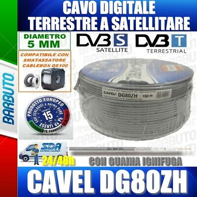 CAVO TV 150Mt ANTENNA SATELLITARE DIGITALE TERRESTRE COASSIALE HD - CAVEL DG80ZH