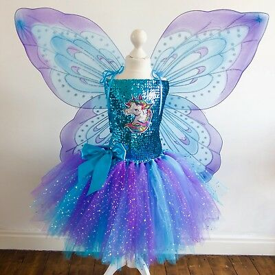 9316a4832809 UNICORN COSTUME WITH Fairy Wings made to measure Age 3yrs - 12yrs ...