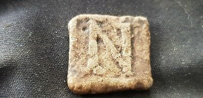 Very rare Post Medieval lead letter stamp uncleaned condition found in UK L100w
