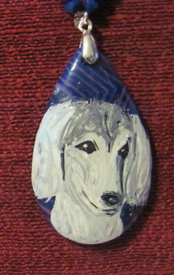 Saluki hand painted on purple/pink teardrop pendant/bead/necklace
