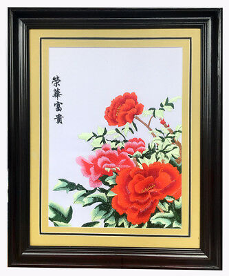 Happy and Fortune Flower Chinese embroidery Painting With framed *UK STOCK*