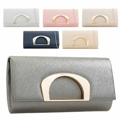 Ladies Stylish Fx Leather Party Clutch Bag Gold Ring Cocktail Handbag KD2228