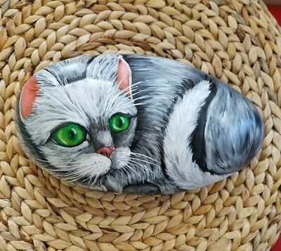 Cat 13x8 in. Hand Painted on a rock artist V.Kovtun / amazing gift