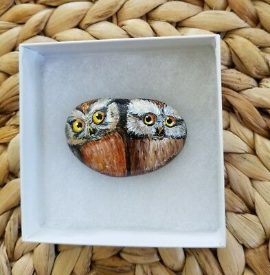 Owls 2x1,5 in. Hand Painted on a rock artist V.Kovtun / amazing gift