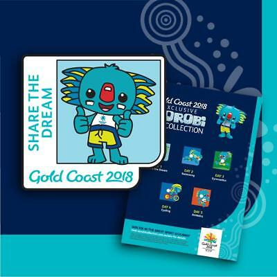 Gold Coast 2018 Commonwealth Games Exclusive Borobi Pin Collection 5 Piece +Card