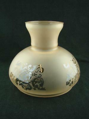 Vintage Amber Satin Glass Etched Oil Lamp Shade, Vesta Style, 17.8Cm Fitter