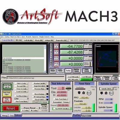 Engraving Control CNC Software Artsoft Mach3 License for Lathes, Mills, Route