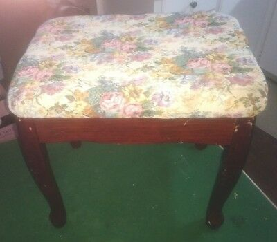 Vintage Dark Wood & Upholstered Vanity, Sewing Stool or Bench - Queen Anne Legs
