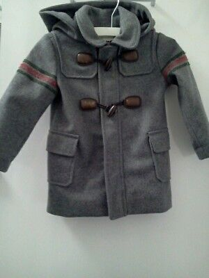 9a1e4482a Gucci Toddler Boys Kids Grey Wool Montgomery Jacket Coat Blazer Size 18/24 M