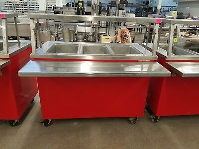 "Delfield Shelleyglas 50"" Three Well Portable Hot Pan Buffet Steam Table Nsf Ref6"