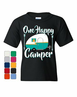 One Happy Camper Youth T-Shirt Camping Roadtrip RV Trailer Kids Tee