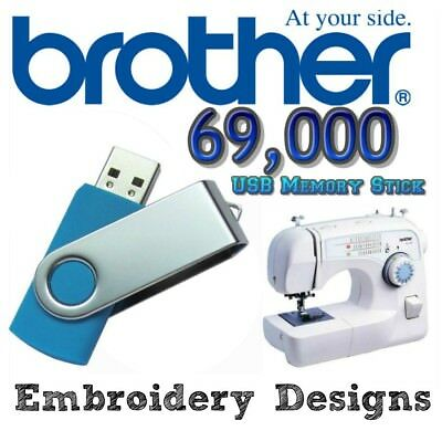 69,000 BROTHER PES Embroidery Designs Patterns Designs CARDS on USB Stick