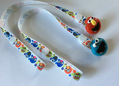 Sesame St ~ Elmo & Cookie Monster Dummy Pacifier  Clips ~ NEW ~ POPULAR ~