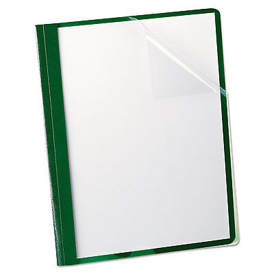 """Oxford Clear Front Report Cover 3 Fasteners Letter 1/2"""" Capacity Green 25/Box"""
