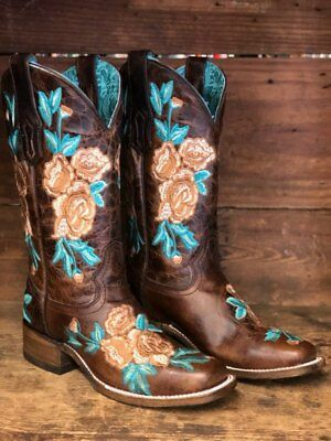 9da5f3868b3 CORRAL WOMEN'S CHOCOLATE & Turquoise Floral Embroidery Square Toe Boot A3527