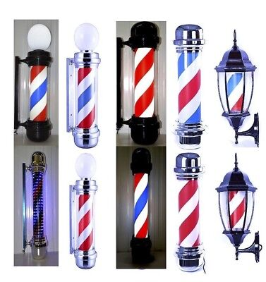 Barber Pole Rotating  Salon Sign New 2018 Black Frame Desing Lantern & Globe Led