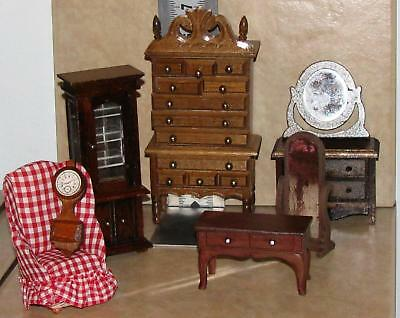 Vintage Doll House Furniture~ Wood Pieces And Fabric Covered Chair