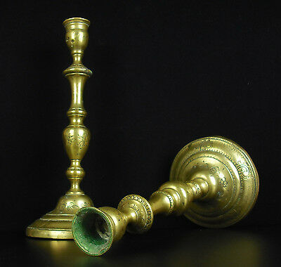 Pair of candlesticks Pair of candle holders antique bronze 18th/xixth H:26 cm