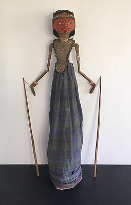 Old Antique Vintage Javanese Stick Puppet Shadow Swivel Double Headed Wayang