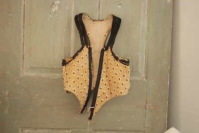 French bodice corset 18th century Antique folk dress  1770 with rump  clothing