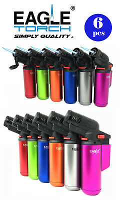 "6 Pcs 4"" Eagle Torch Jet Flame Gun Lighter (V.2) Refillable Lockable Windproof"