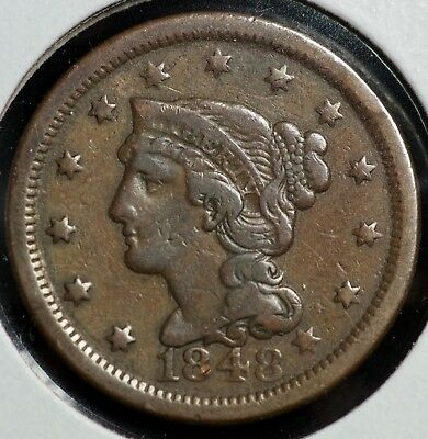 1848 Braided Hair Large One Cent Coin