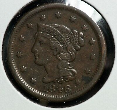1846 Braided Hair Large One Cent Coin #1
