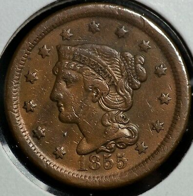 1855 Braided Hair Large One Cent Coin